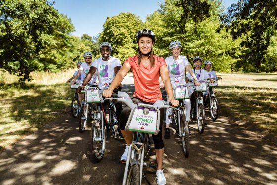 Jessica Ennis-Hill leading a group of cyclists in a park