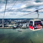 Bird's eye view over London from Emirates Air Line cable car