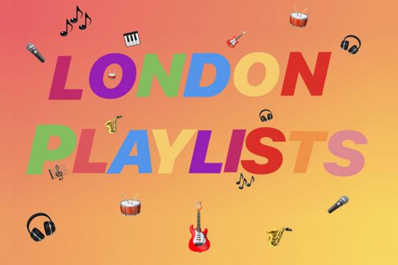Orange background with musical emojis