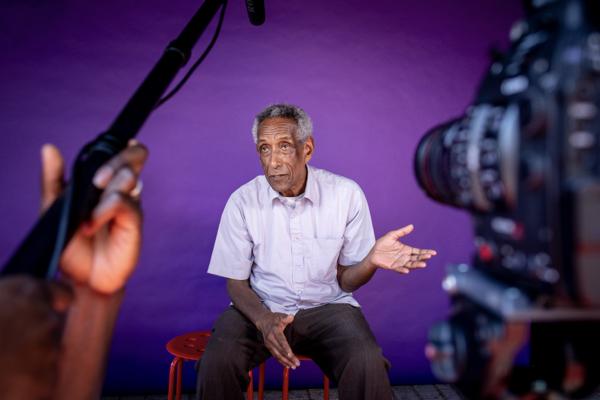Man speaking to camera for Leytonstone Loves Film