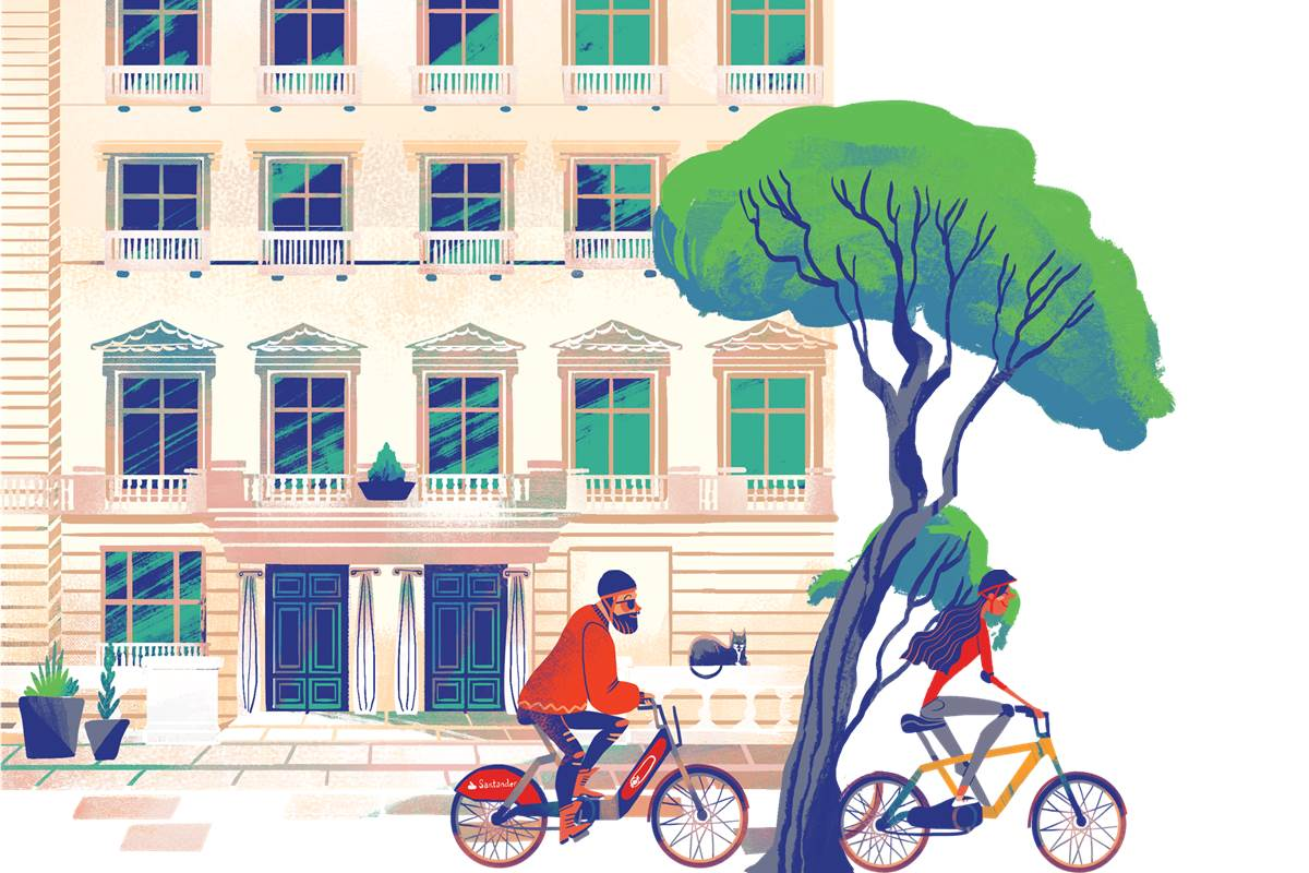 Illustration of people cycling in Central London on Santander Cycles