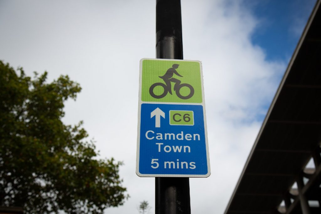 Sign pointing to Camden on Cycleway 6
