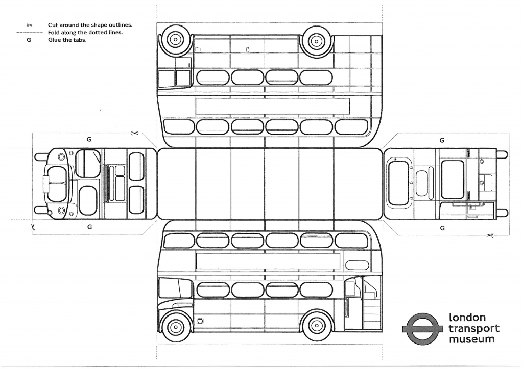 Line drawing of a London Bus model
