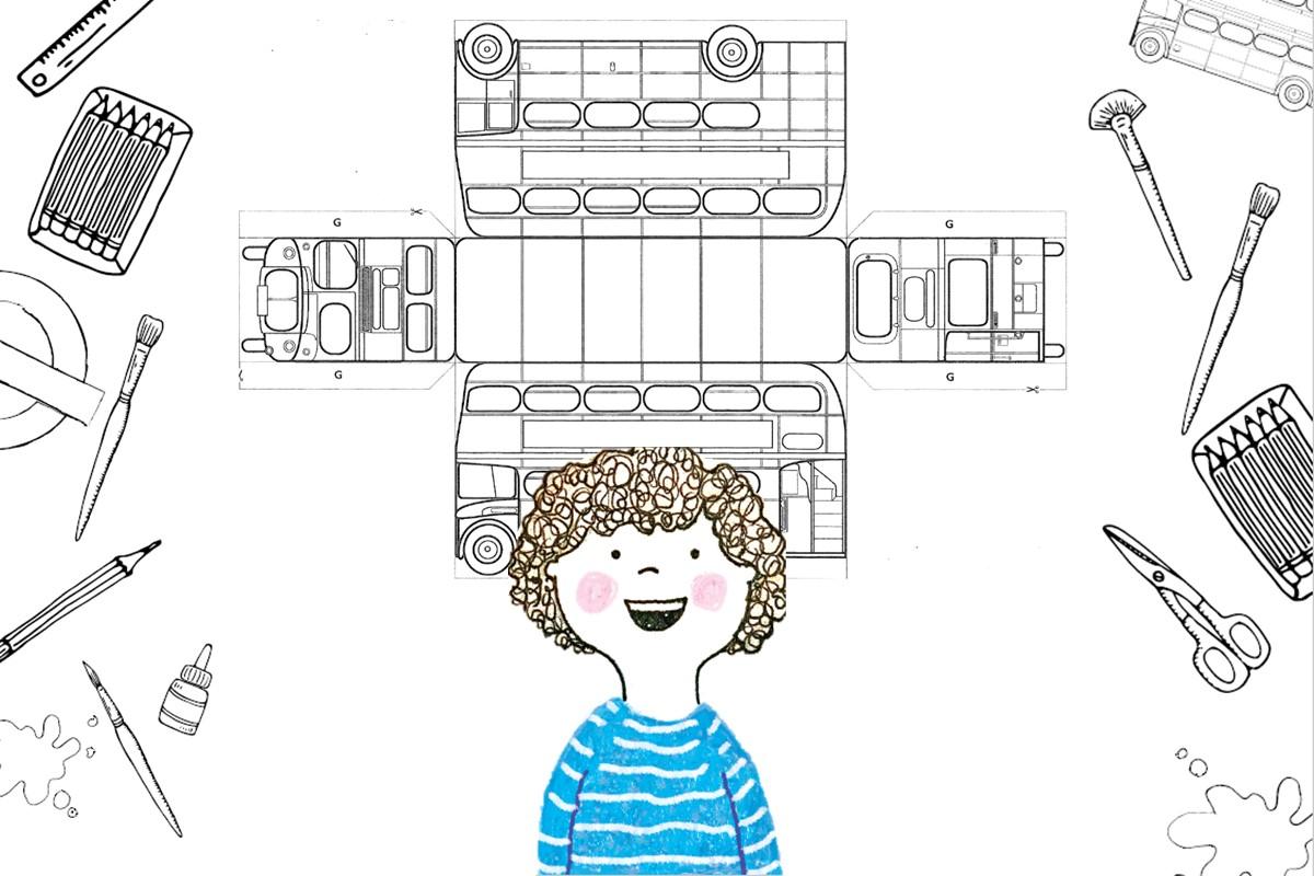Illustration of London bus craft model