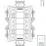 Line art guide for building a paper heritage train