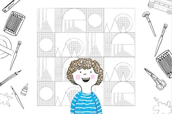 Illustration of moquette pattern line art