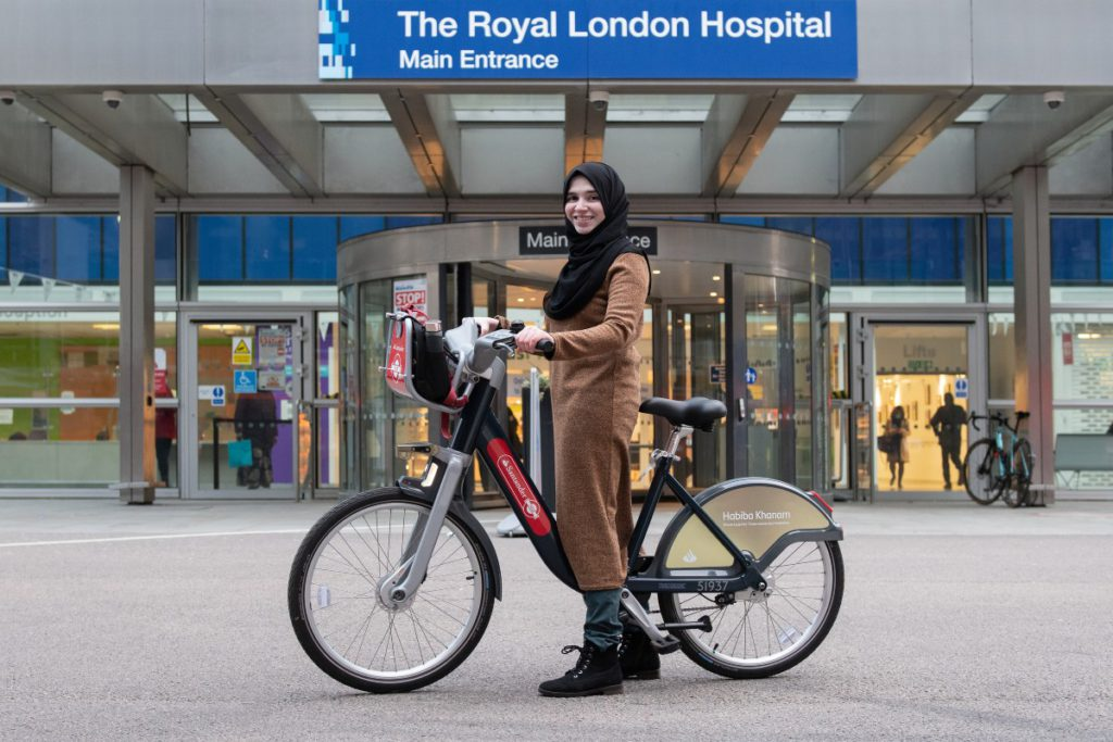 Habiba with her special 10th anniversary Santander Cycle