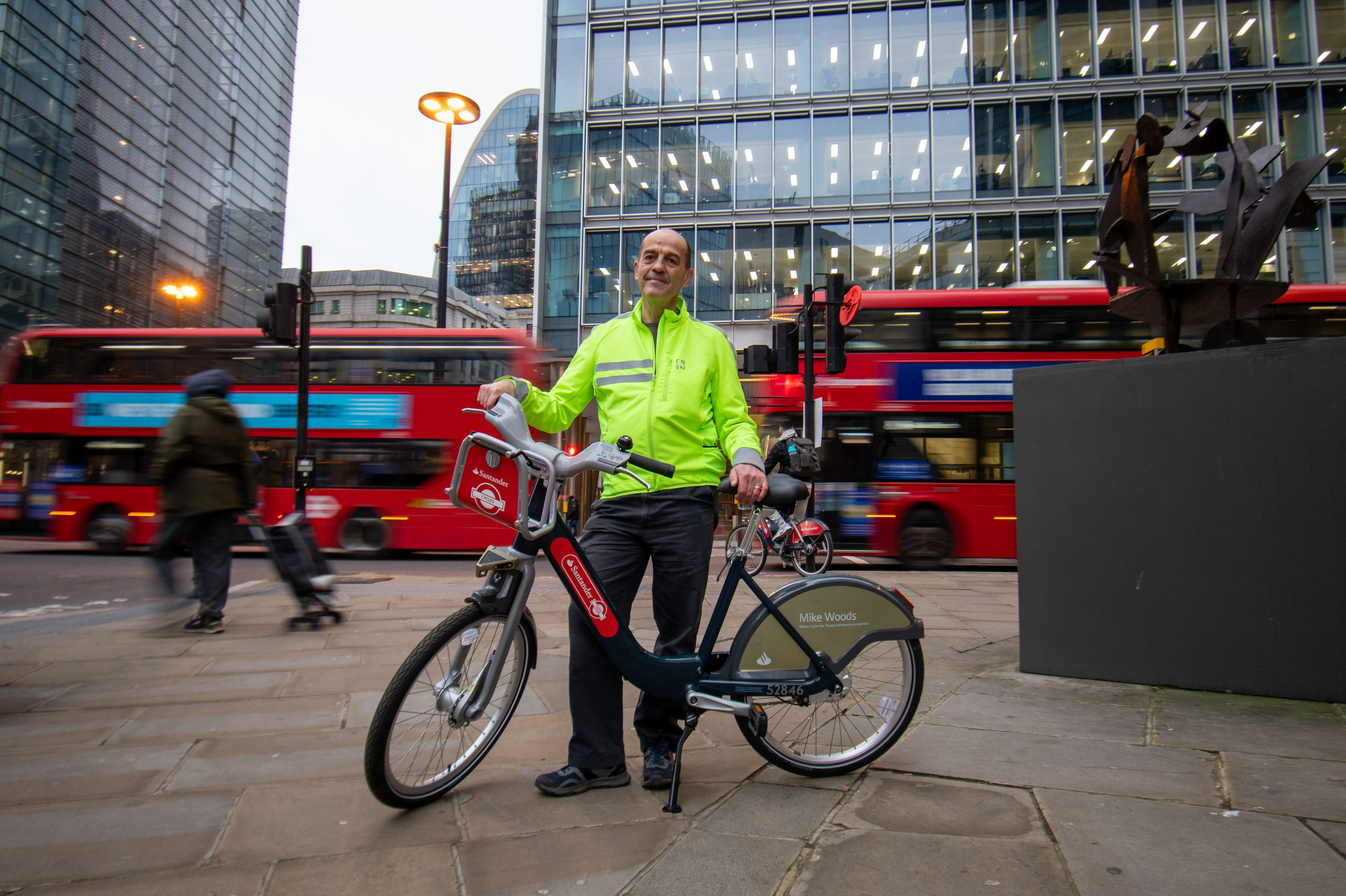 Mike on his 10th anniversary Santander Cycle