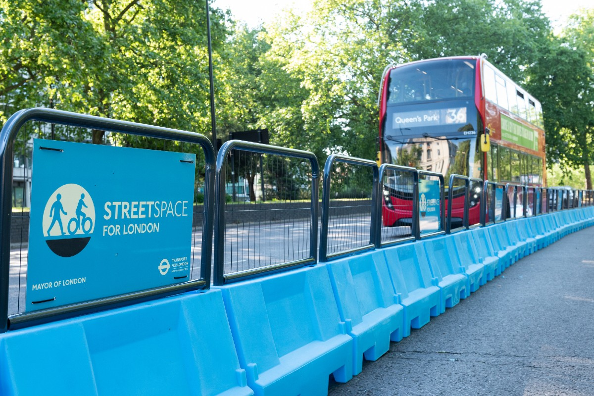 Streetspace lane and road with a bus