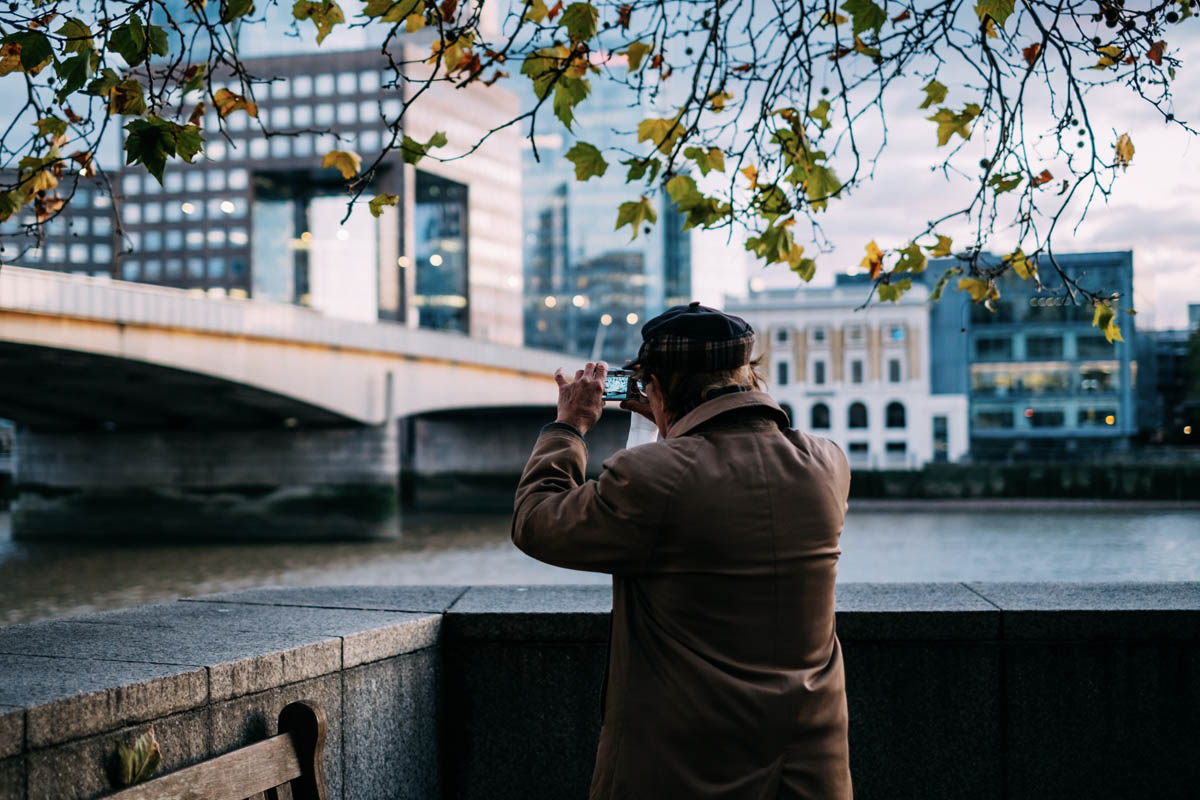 Man taking photo on a walk