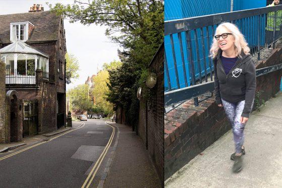 Suzanne walking in Hampstead
