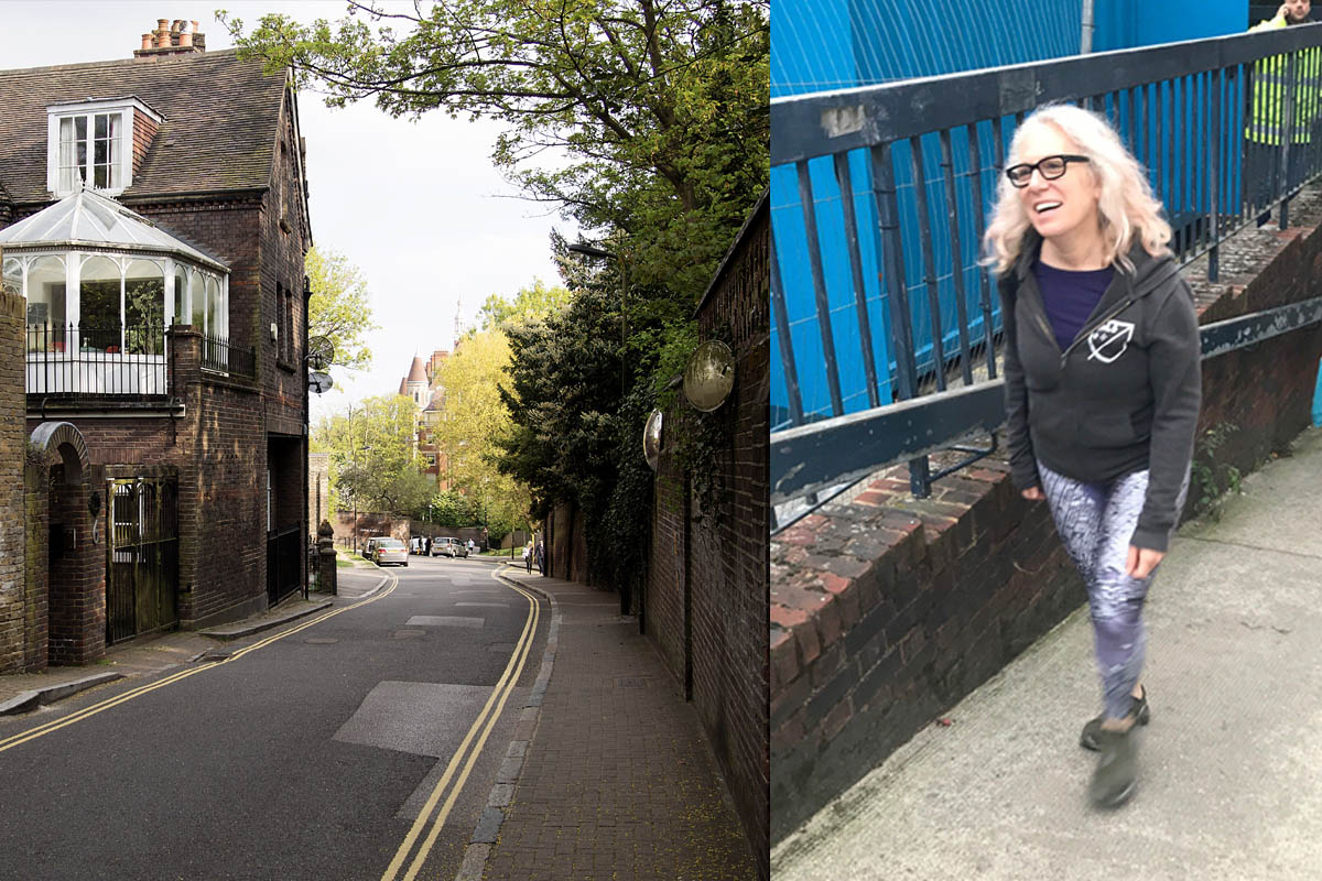 Suzanne walking in Hampstead