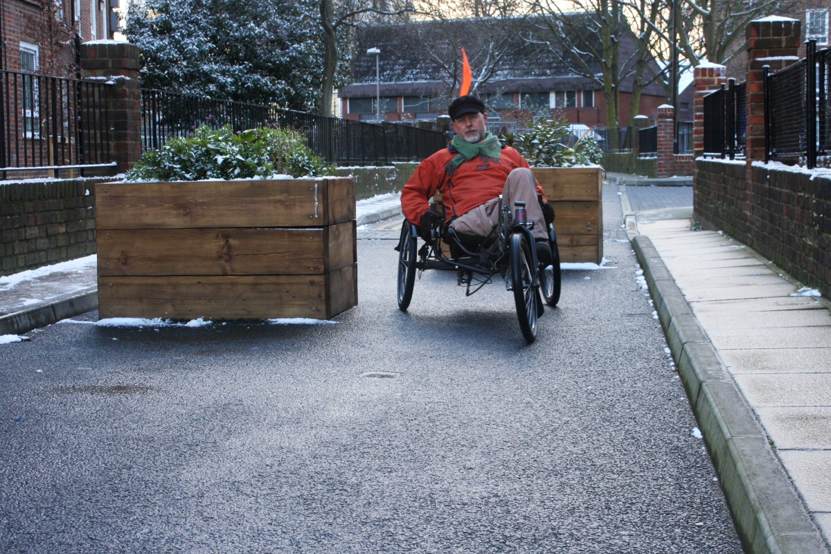 Man on a recumbent tricycle