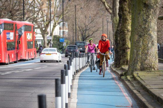Women on a cycle lane in London