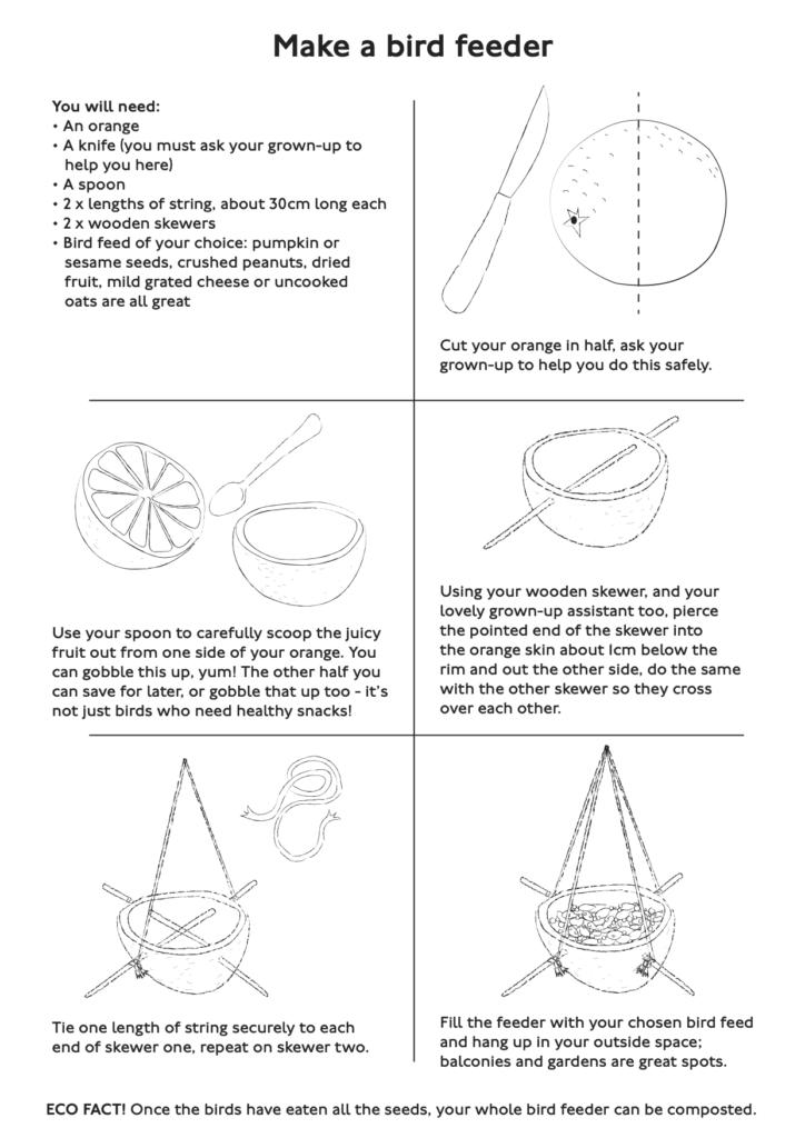 Make a bird feeder activity sheet