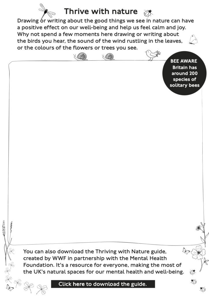 Thrive with nature activity sheet
