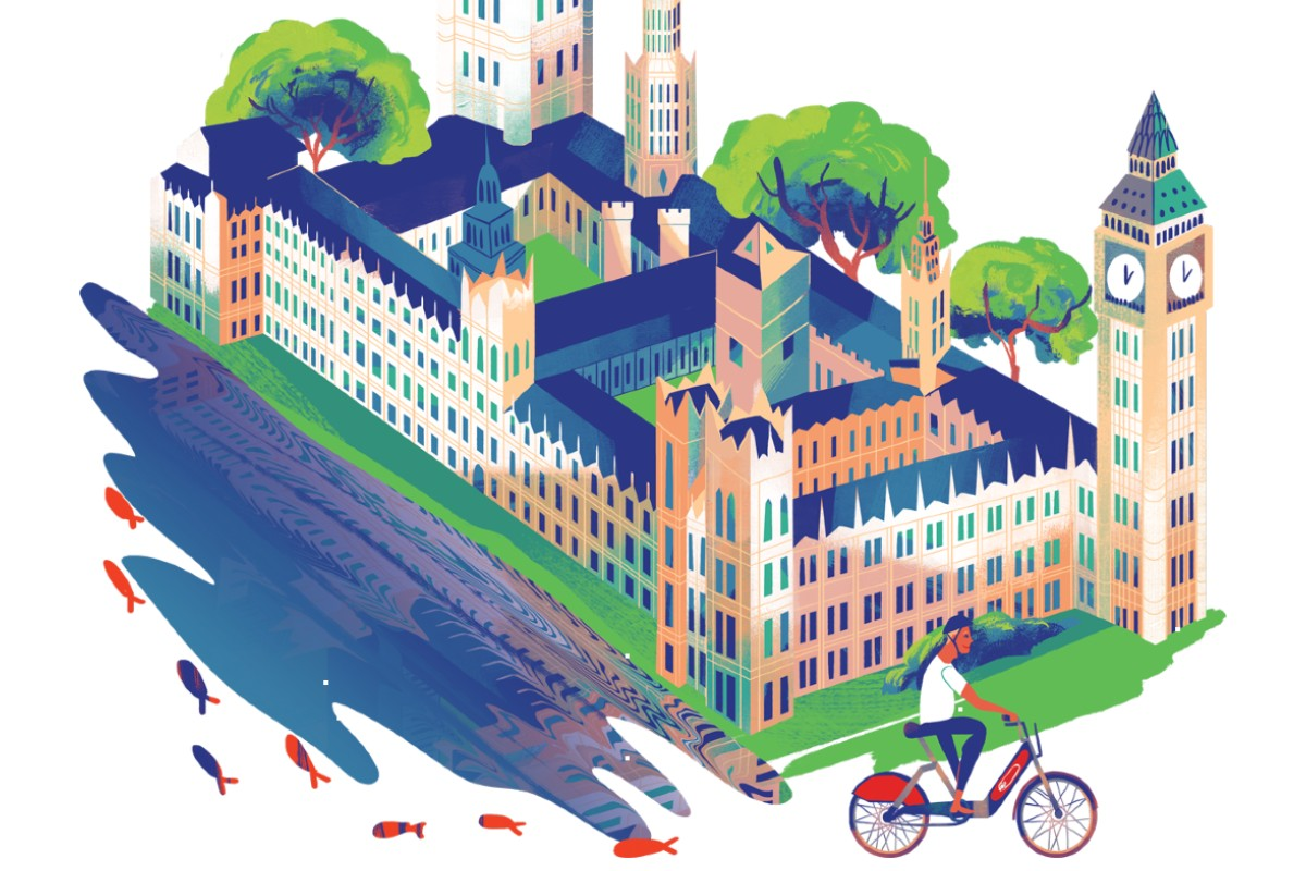 Illustration of someone on a Santander Cycle going past the Houses of Parliament