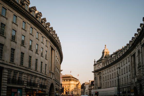 Regent Street curve in golden hour