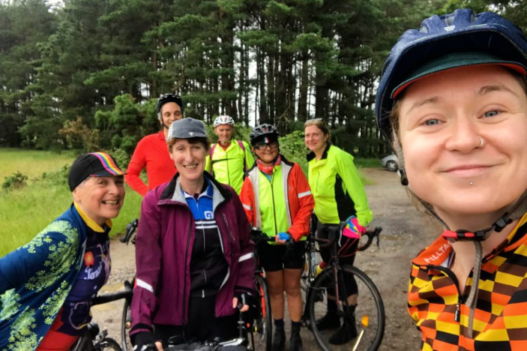 Aisling on a group cycle with six other people