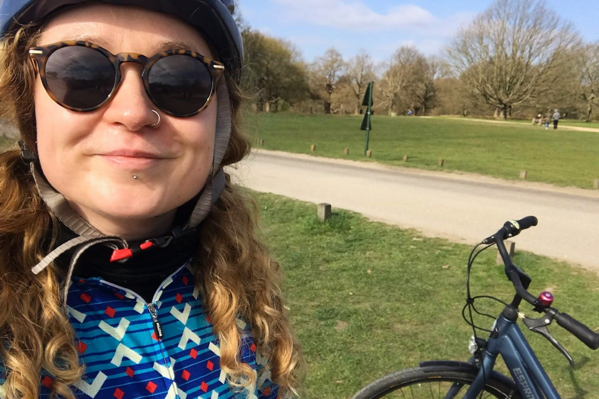 Aisling with her cycle in Richmond Park