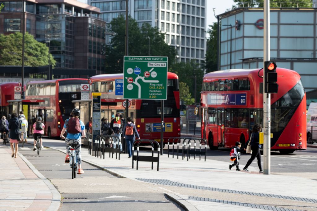 Cycleway with cyclists by Elephant & Castle roundabout