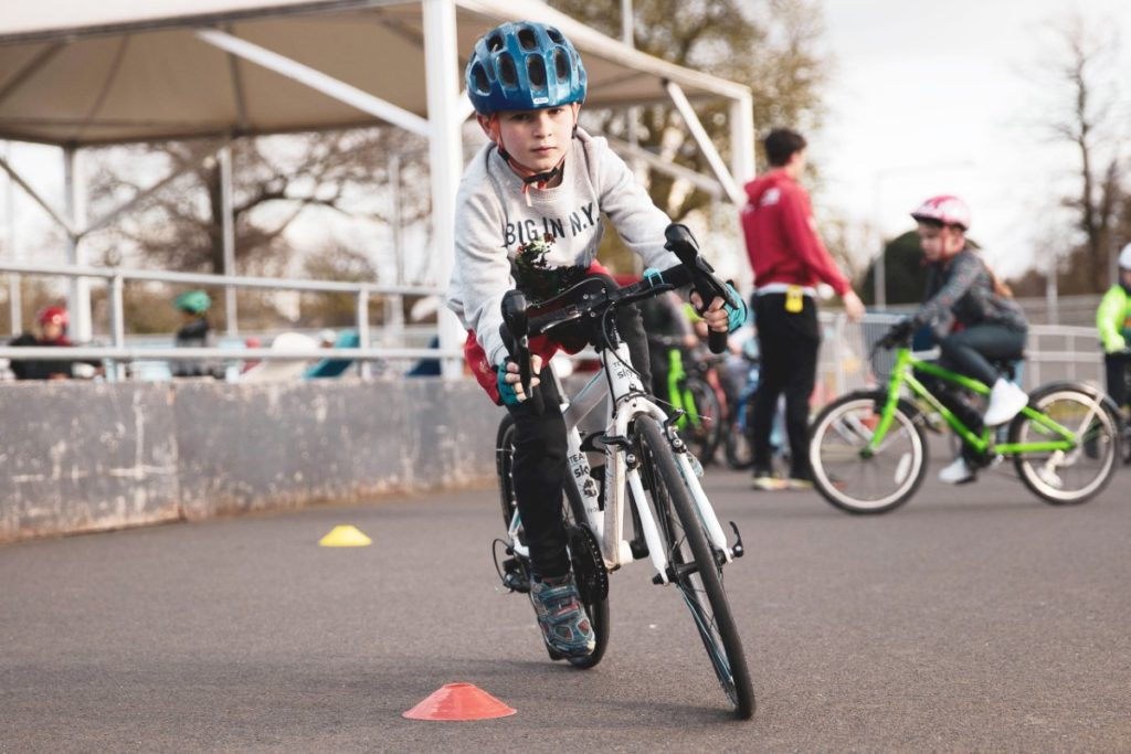 Child cycling lesson at Herne Hill Velodrome