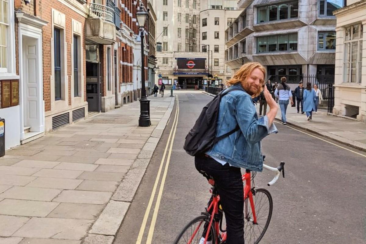 Jon on his cycle outside the Tube
