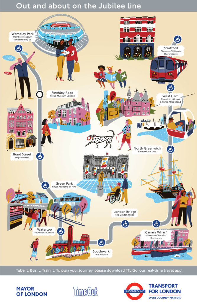 Jubilee line map with cultural attractions