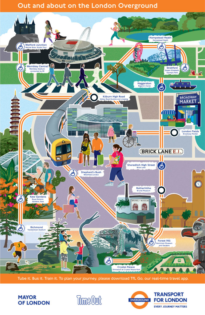 Overground map with cultural attractions