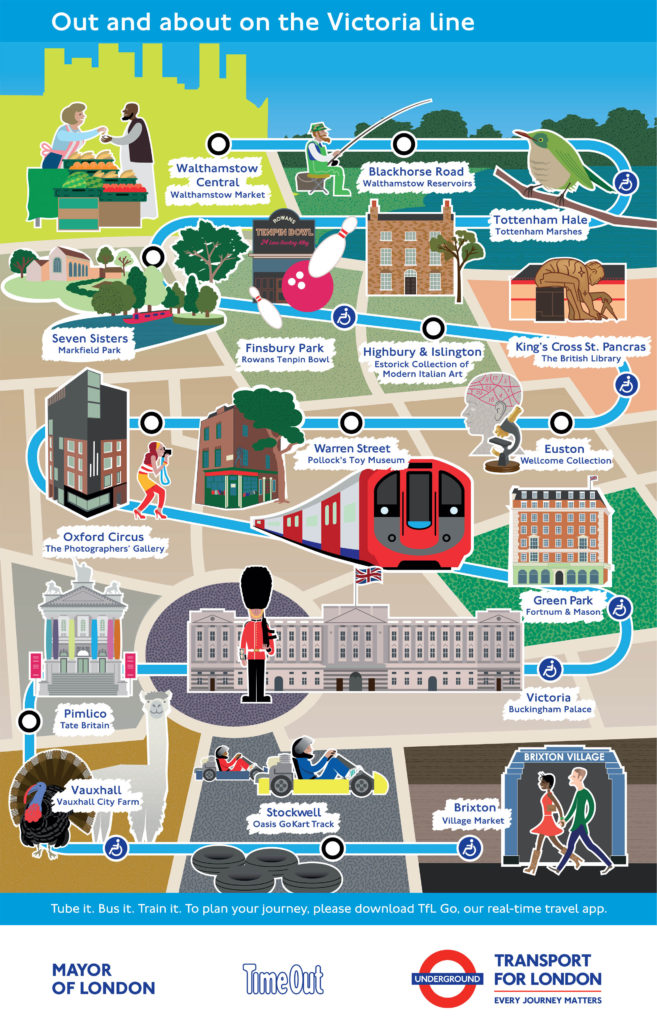Victoria line map with cultural attractions