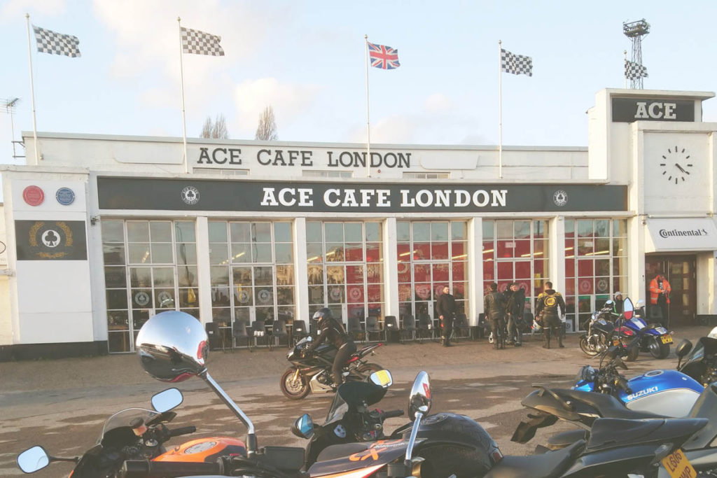 Front of the Ace Cafe London with motorbikes.