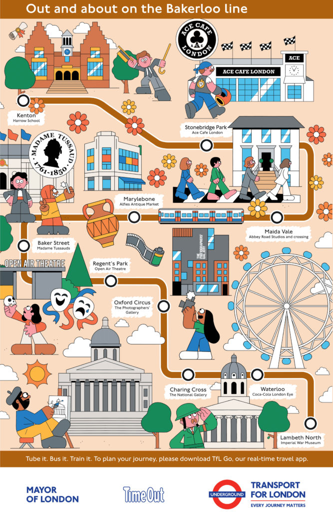 Bakerloo line illustrated map showing cultural attractions