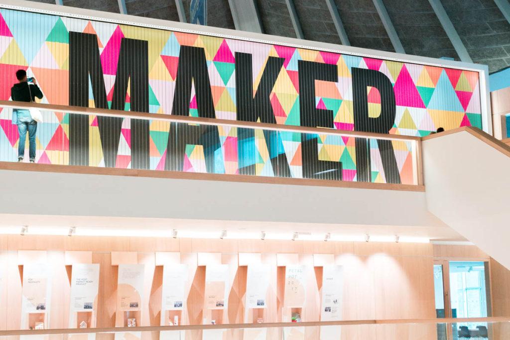 Maker sign inside the Design Museum.