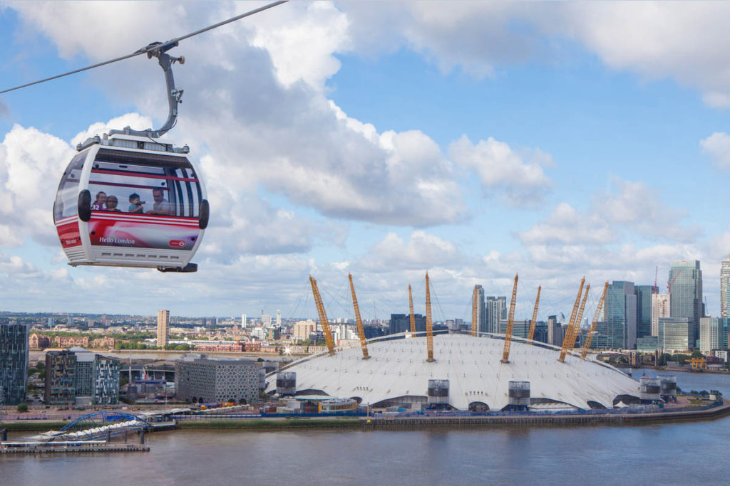Emirates Air line cable car above River Thames and O2.