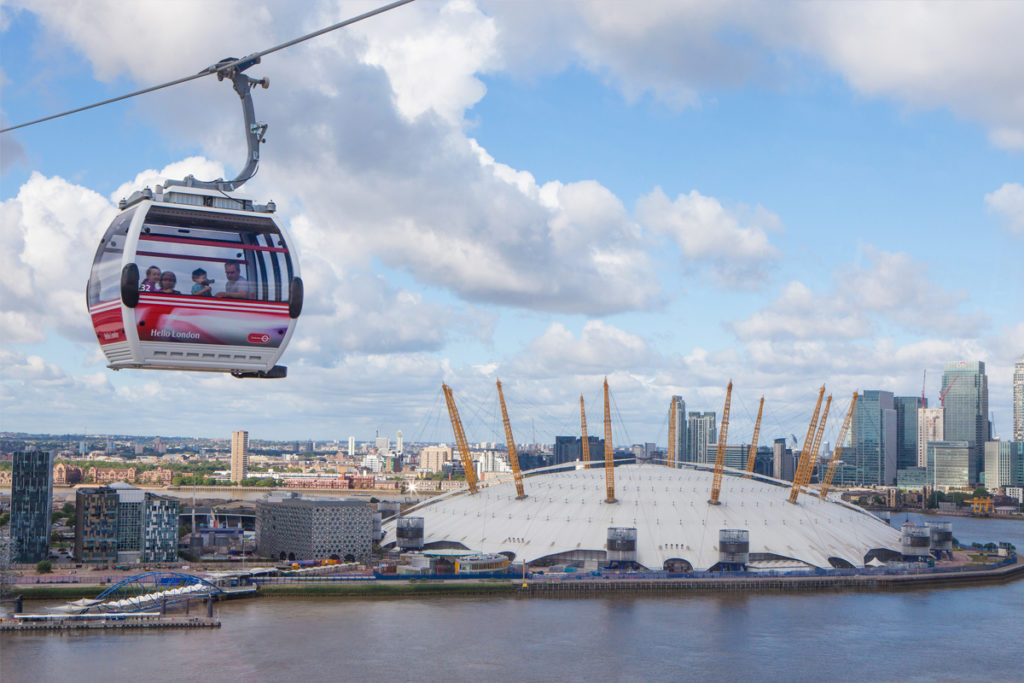 Family using the Emirates Air line over the O2.