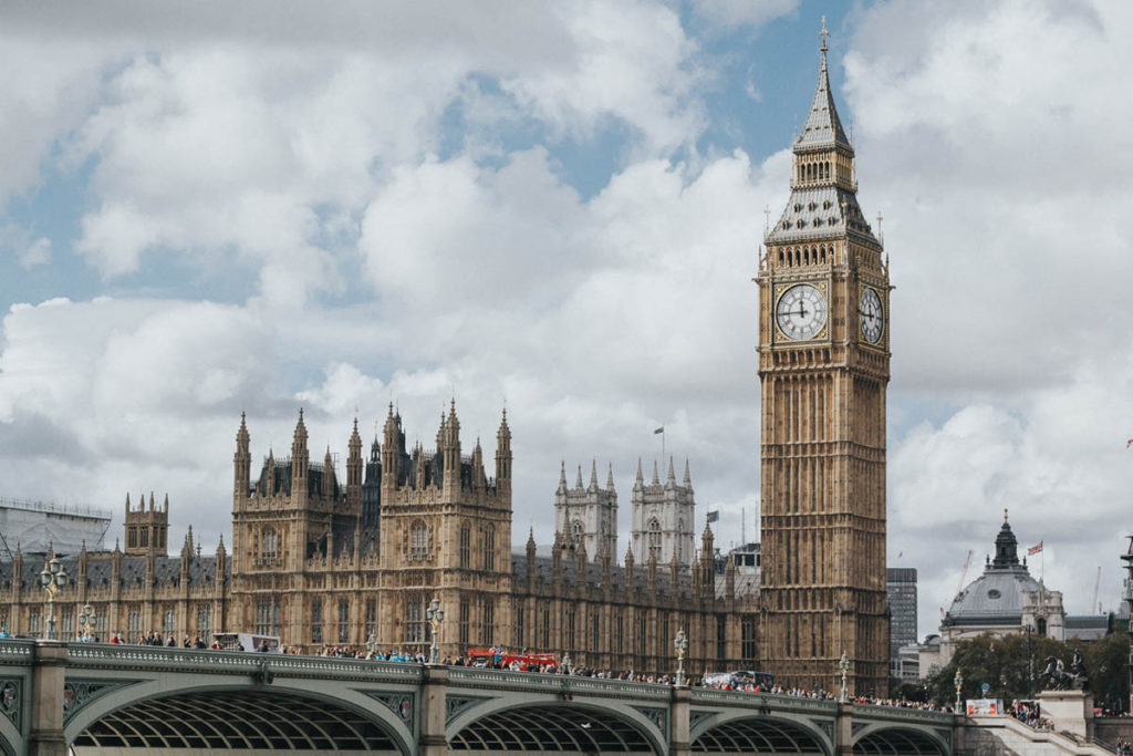 View of Houses of Parliament and Big Ben from Westminster Bridge.