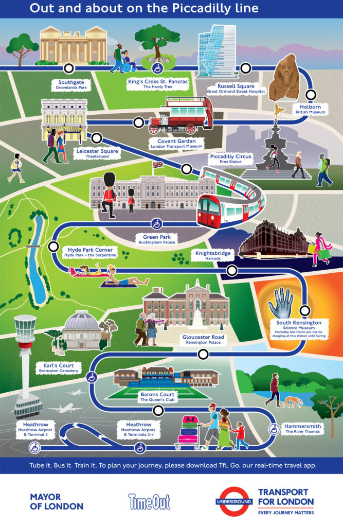 Piccadilly line map with cultural attractions