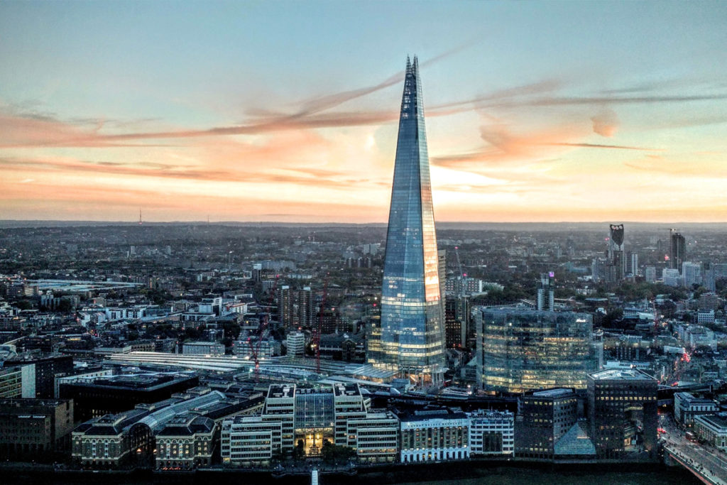 The shard and London skyline at sunset.