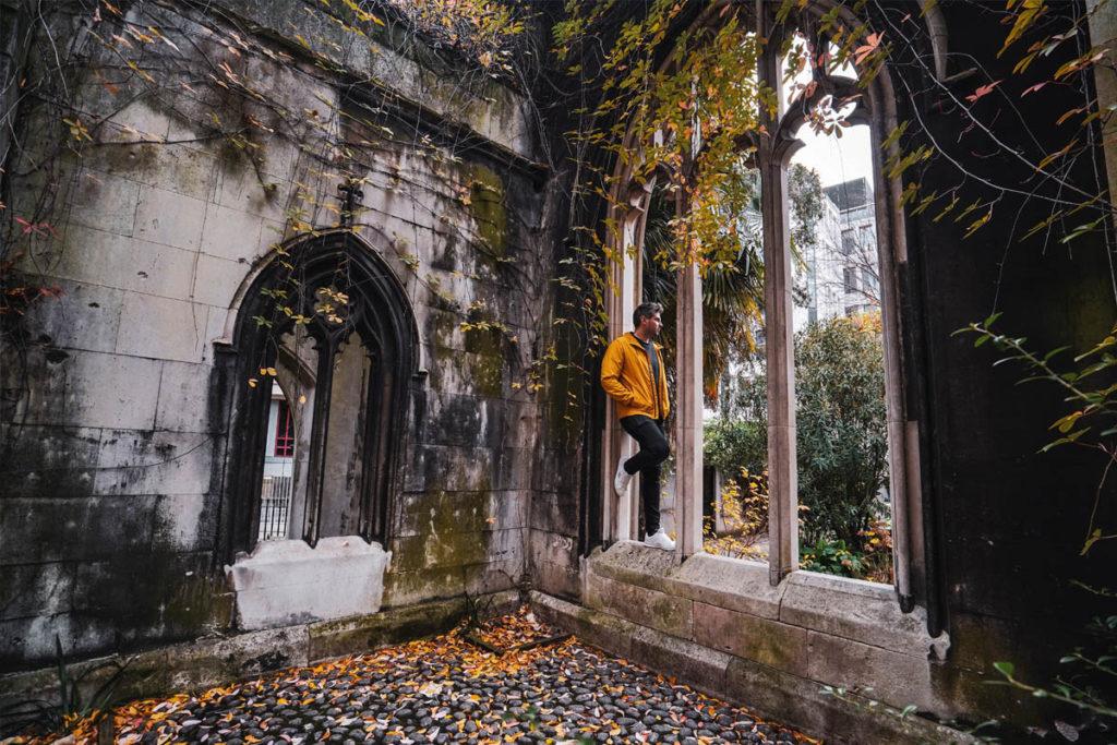 Man standing inside St Dunstan in the East