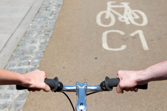 View of Cycleway 1 from the handlebars