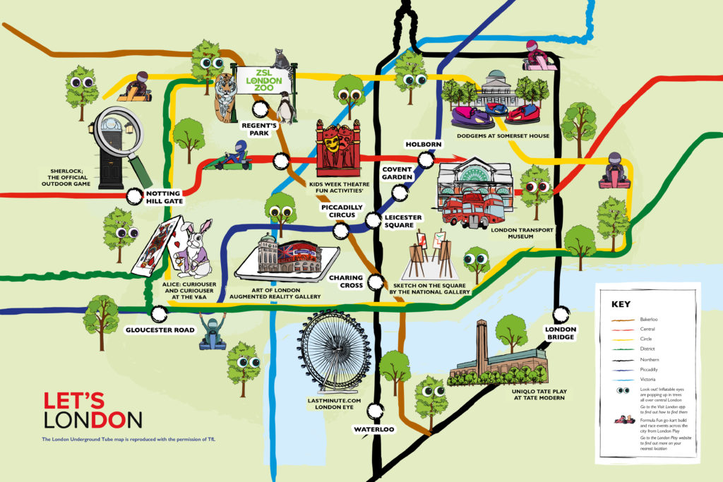 Illustrated tube map showing family attractions across London.