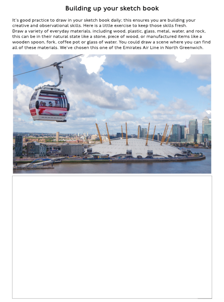 Build up your sketch book page with view from Emirates Air line.